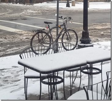 studded tires and slush on the patio tables