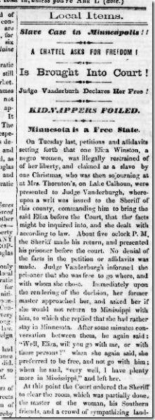 Eliza Winston newspaper story