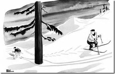 Charles Adams' skier and tree
