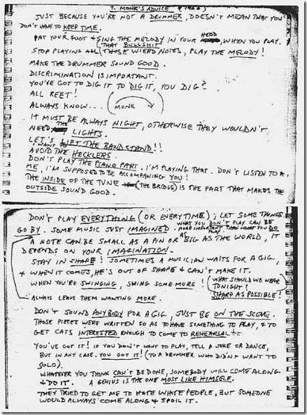 Thelonious Monk's rules as transcribed by Steve Lacy