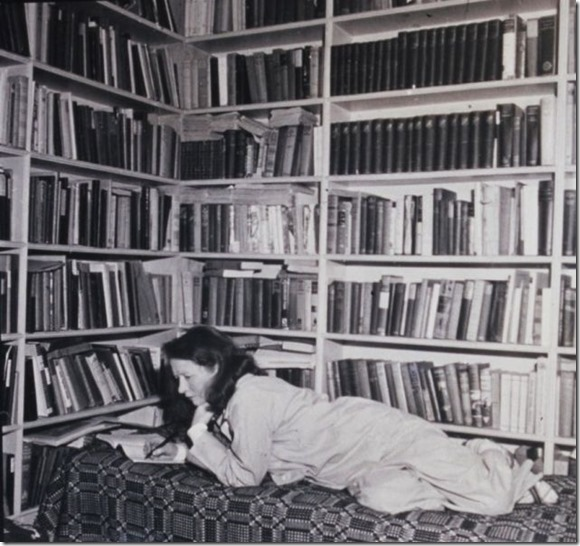 Millay with books