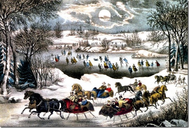 Currier and Ives Sledding in Central Park