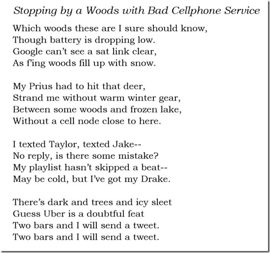 Stopping by a Woods with Bad Cellphone Service lyrics