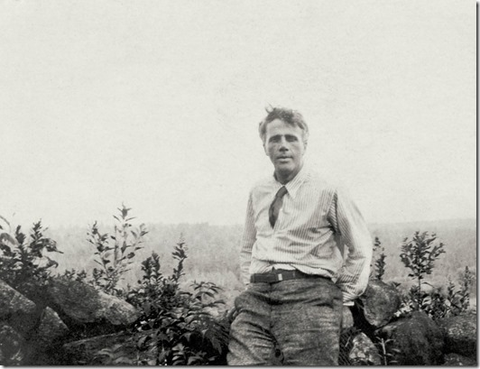 Robert Frost against the wall