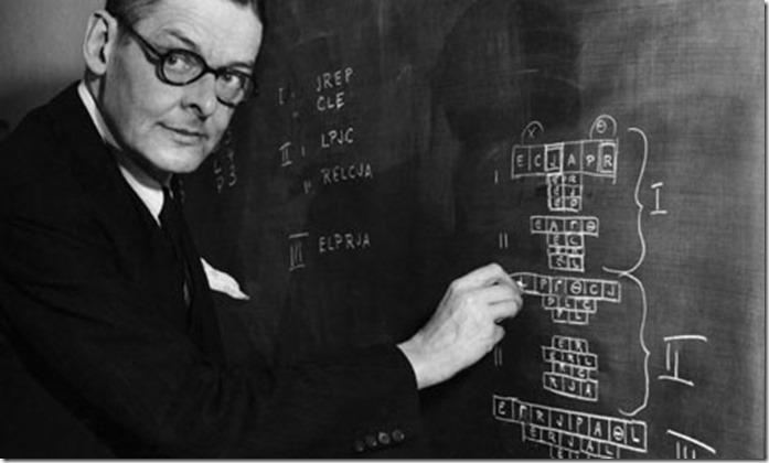 T S Eliot at the blackboard