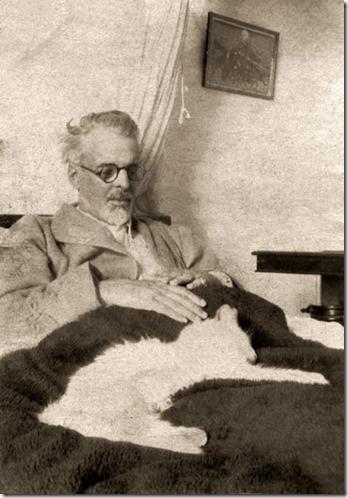 William Butler Yeats with cat