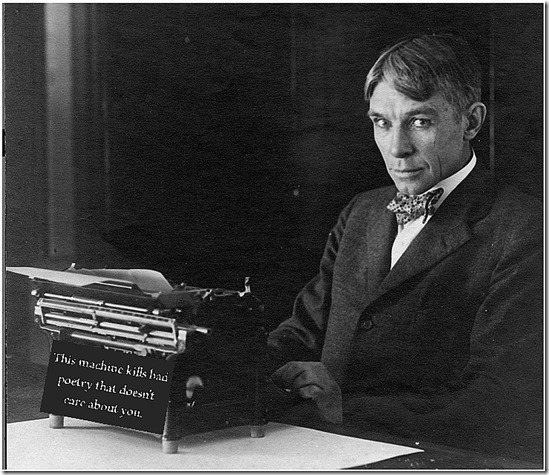 Carl Sandburg at the machine of his labor