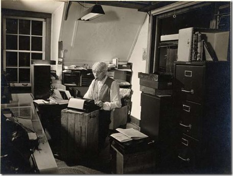 Carl Sandburg at work