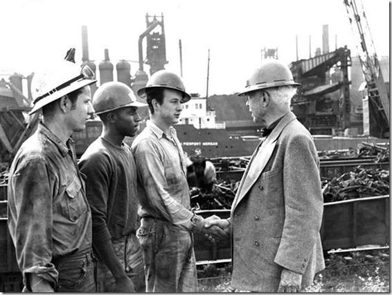 Carl Sandburg on the work site
