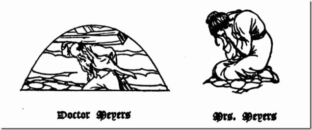 Doctor Meyers and Mrs Meyer woodcuts from Spoon River Anthology