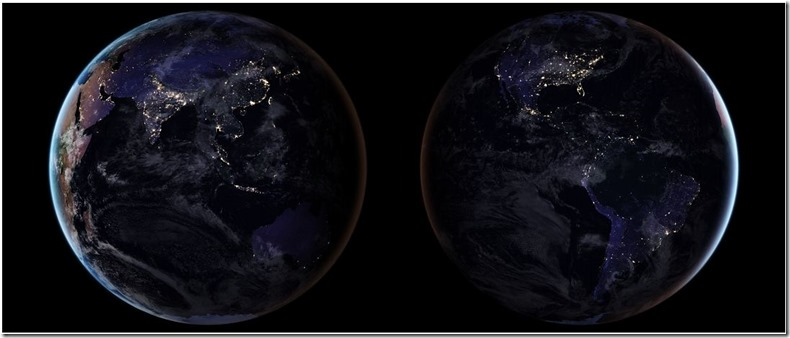 NASA photos of night-time Earth from space