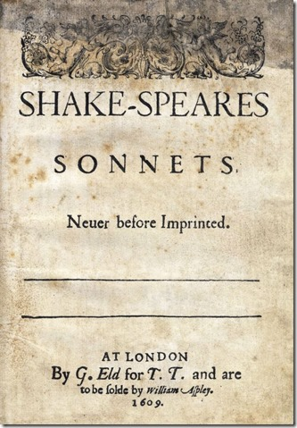 Shakespeare Sonnets1609 edition Title Page