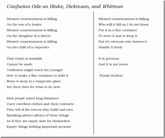 Confucian Ode to Blake Dickinson and Whitman