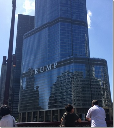 Trump tower with shadow on name