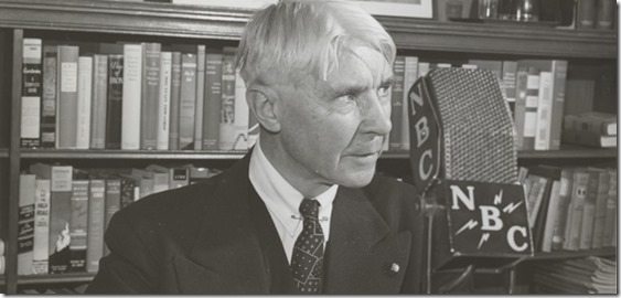 Carl Sandburg and a BIG microphone